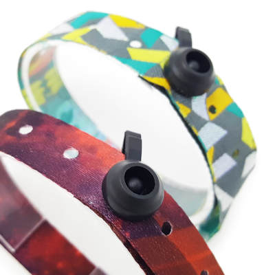 Fabric wristband with push button closure